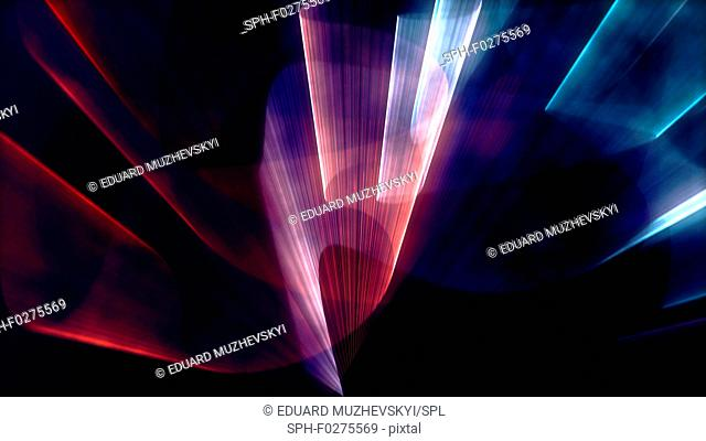 Beams of coloured light, illustration