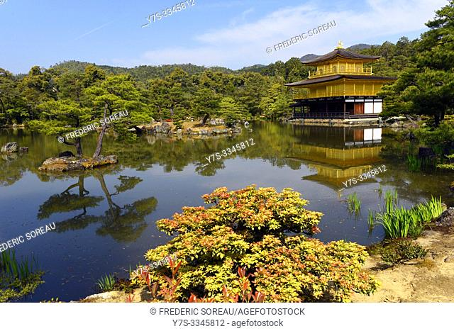 Kinkaku-ji, the temple of the Golden Pavilion, is famous Zen Buddhist temple located in Kyoto, Japan, Asia