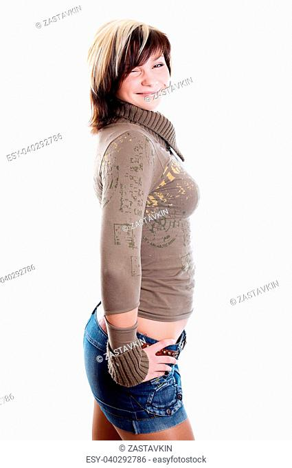 Smiling young pretty woman on white background