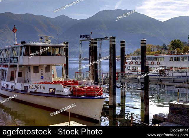 Liner Helvetia, Port of Locarno, Lake Maggiore, Ticino, Lake Maggiore, Switzerland, Europe