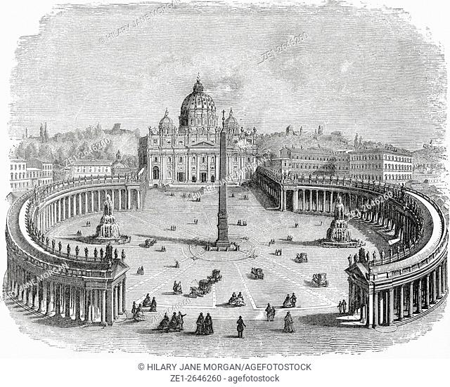 General view of St. Peter's and the Vatican, Vatican City, Rome, Italy in the late 19th century. From Italian Pictures by Rev
