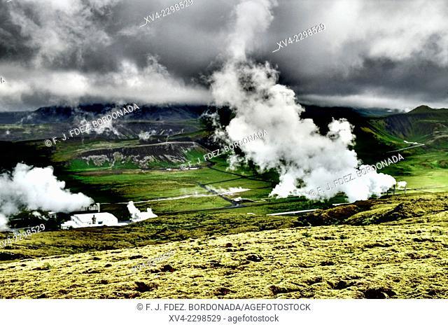 Nesjavallavirkjun hot spring area. Reykjavik, Iceland