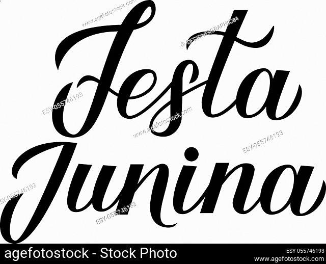 Festa Junina calligraphy lettering isolated on white. Brazil June Festival Festa de Sao Joao. Brazilian Traditional Carnival typography poster