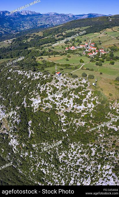 Aerial View, Aja, Soba Valley, Valles Pasiegos, Cantabria, Spain, Europe