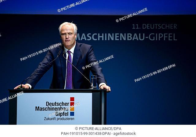 15 October 2019, Berlin: Carl Martin Welcker, VDMA President, speaks at the 11th German Mechanical Engineering Summit of the German Engineering Federation...
