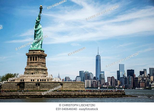 The Statue of Liberty in New York Skyline Monument 7