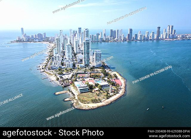 20 March 2020, Colombia, Cartagena: The drone picture shows the bay of Cartagena. The strict measures to contain the coronavirus have a positive effect on the...