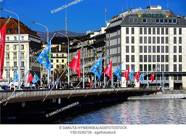 Pont du Mont Blanc, Mont Blanc bridge over the end of Geneva Lake, behind that bridge Rhone river starts, landmark in the city center of Geneva, Geneva