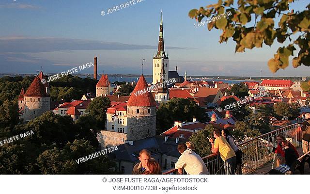 Estonia , Tallin City , City Walls and San Olav's Church, W.H