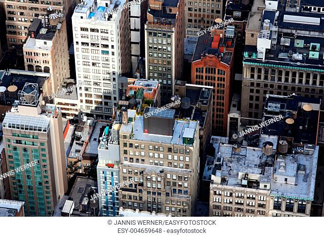 A view of the Manhattan's street canyons shot from the Empire State Building in New York, NY