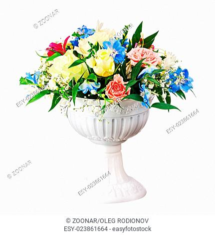 Bouquet from flowers in vase isolated on white background