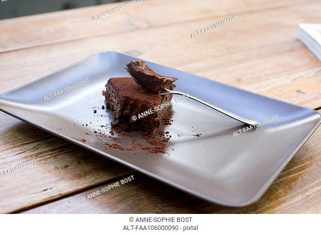 Half eaten chocolate cake