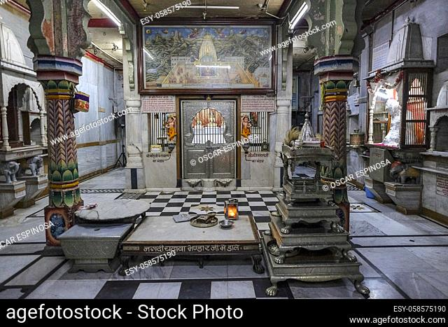 Indore, India - March 2021: Detail of the interior of the Jain Shwetamber Temple on March 12, 2021 in Indore, Madhya Pradesh, India
