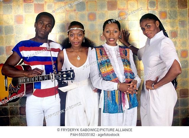 Boney M (l-r. Bobby Farrell, Maizie Williams, Liz Mitchell, Marcia Barrett) on 28.06.198.   usage worldwide. - /Germany