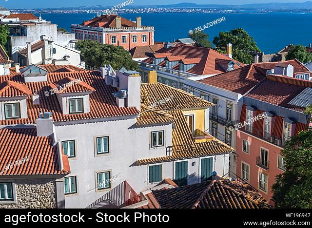 Aerial view from Castelo de Sao Jorge viewing point in Lisbon city, Portugal