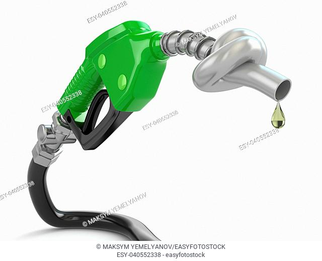 Knotted gas pump nozzle on white isolated background. 3d