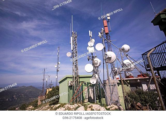 Telecommunication antennas on the peak Monduver, Valencia