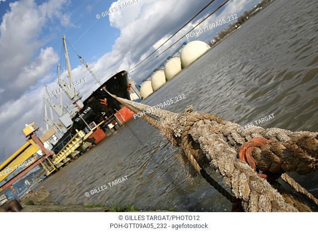 tourism, france, normandy, seine maritime, vallee de la seine, valley, rouen, rouen main sea harbor, cargo, ship along the quay, golden star, lecurer silo