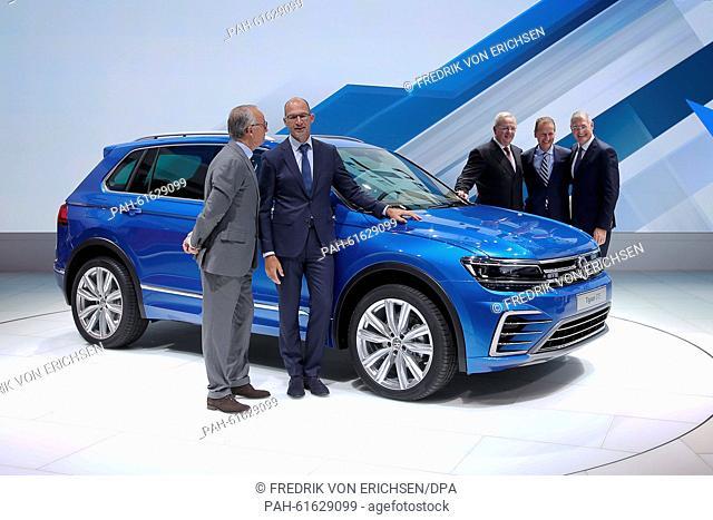 Designers Walter Maria de Silva (L-R) and Klaus Bischoff, Volkswagen AG CEO Martin Winterkorn, Herbert Diess, management board member of Volkswagen AG