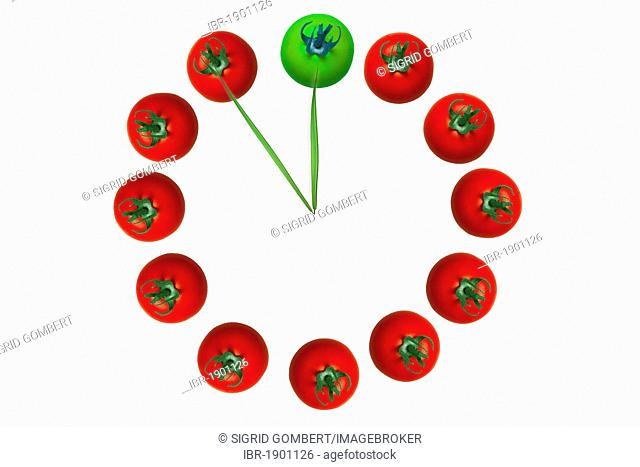 Clock made of red tomatoes out of a green Twelve, blades of grass as fingers showing five to twelve