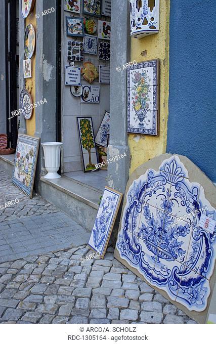 Souvenir shop with local ceramic tiles called Azulejo, Loule, Algarve, Portugal