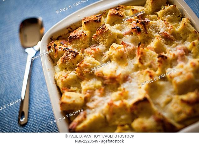 cheese strata with custard and ham filling