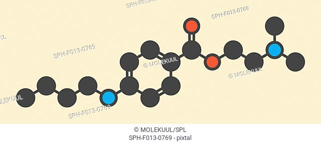 Tetracaine local anesthetic drug molecule. Stylized skeletal formula (chemical structure). Atoms are shown as color-coded circles: hydrogen (hidden)
