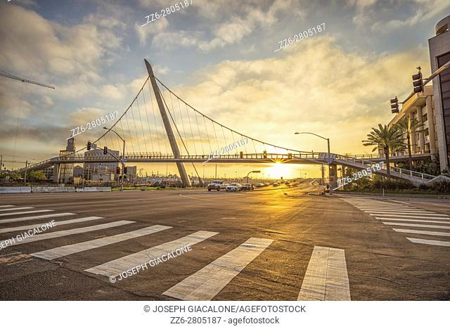 Looking down North Harbor Drive and at the Harbor Drive Pedestrian Bridge in the morning. San Diego, California
