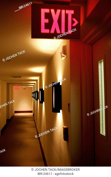 USA, United States of America, Florida, Miami : Hotel floor, emergency exit sign