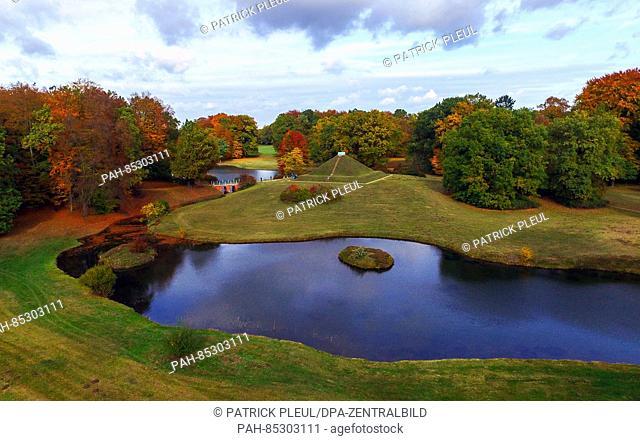 An image taken by a drone shows the autumnal Fürst-Pückler-Park Branitz near Cottbus, Germany, 29 October 2016. Designed by Hermann Fürst von Pückler-Muskau