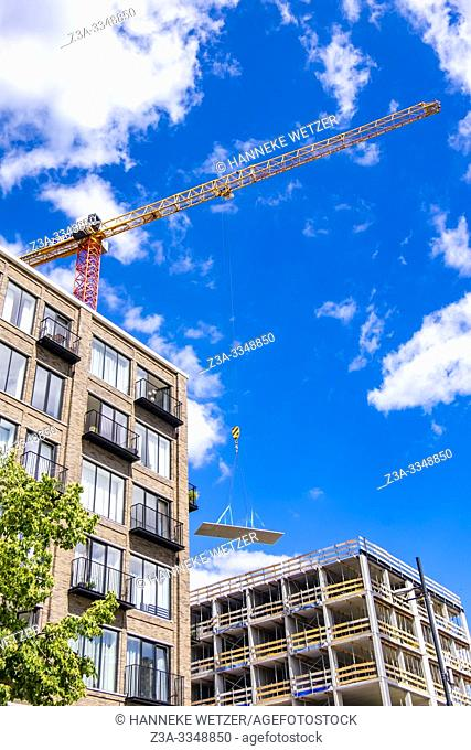 Construction site at former Philips factory site Strijp-S in Eindhoven, The Netherlands, Europe