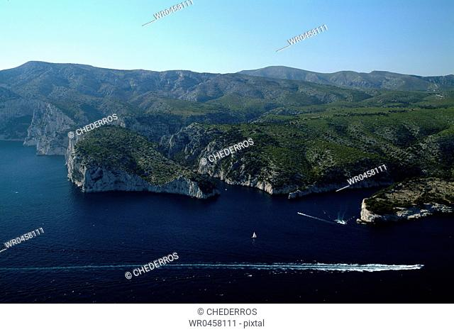 High angle view of cliffs overlooking the sea, Provence, France