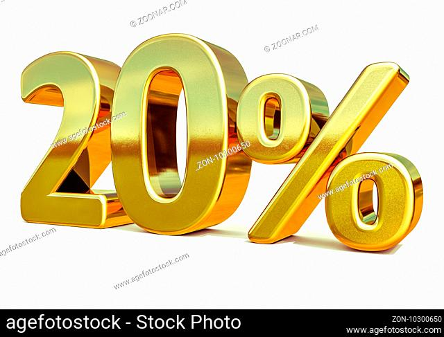 3d render: Gold 20 Percent Off Discount Sign, Sale Banner Template, Special Offer 20% Off Discount Tag, Twenty Percentages Up Sticker, Gold Sale Symbol