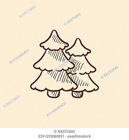 Pine trees sketch icon for web, mobile and infographics. Hand drawn vector isolated icon