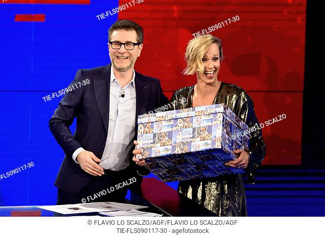 The presenter Fabio Fazio and the champion swimmer Federica Pellegrini during the tv show Che tempo che fa, Milan, ITALY-08-01-2017