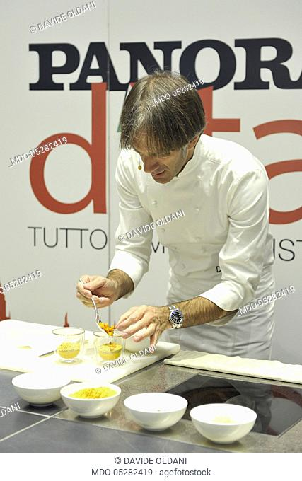 Showcooking and food experience of the chef Davide Oldani for the event Panorama d'Italia. Milan, Italy. 16th October 2016