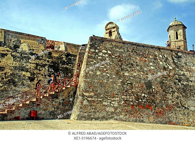 staircase on the wall, castle of San Felipe de Barajas, Cartagena de Indias, Colombia