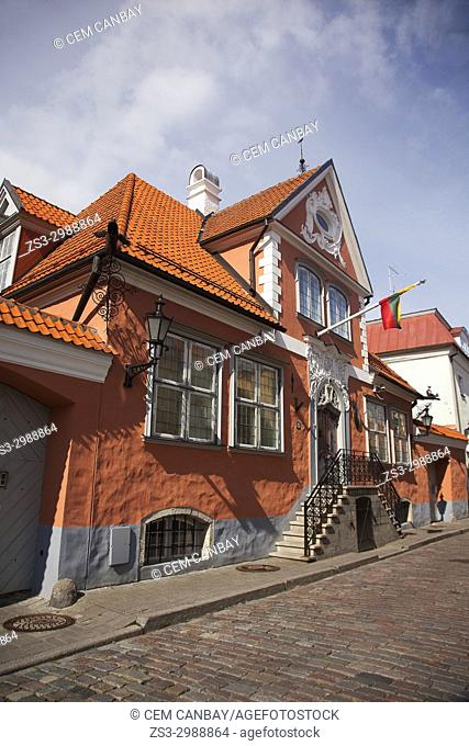 View to the Lithuanian embassy building in the old town, Tallinn, Estonia, Baltic State, Europe