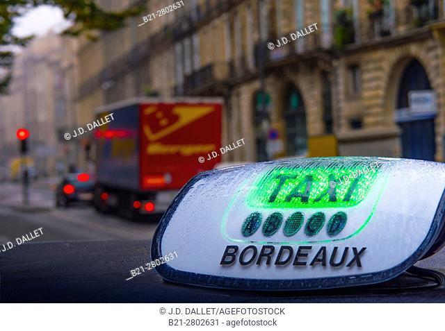 France, Nouvelle Aquitaine-Gironde- Taxi at Bordeaux