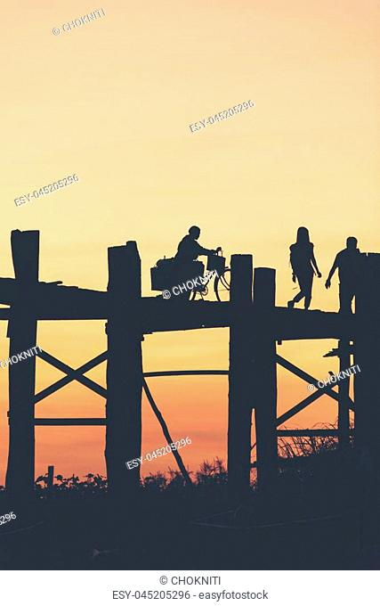 Last light at U Beng Bridge, wooden bridge in Mandalay, Myanmar