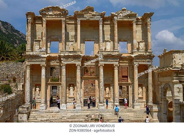 EPHESUS, TURKEY - JUNE 10, 2010: People Visiting and Enjoying Ancient Celsius Library in Ephesus Turkey