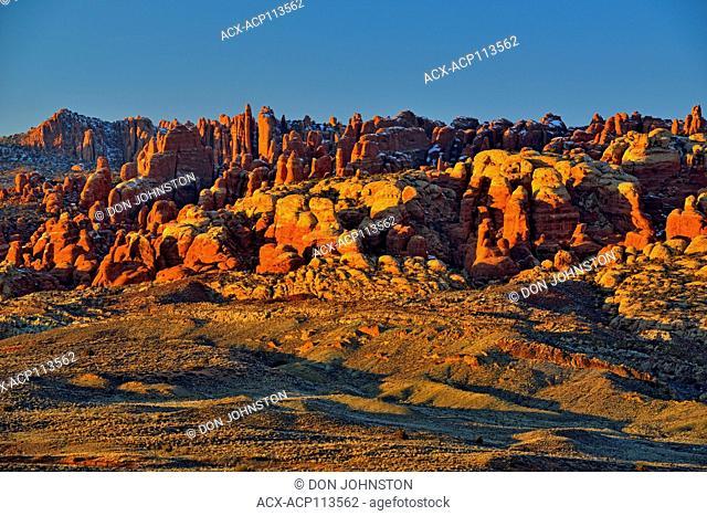 Fiery Furnace rocks and petrified sand dunes, Arches National Park, Utah, USA