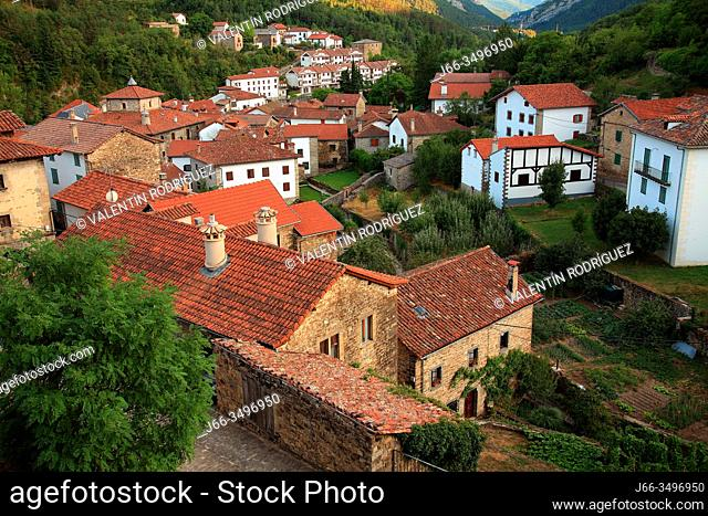 View of the village of Roncal. Navarra
