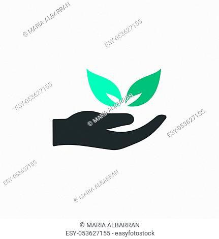 Hand and leaves. Flat color icon with beige shade. Ecology, pharmacy and nature vector illustration