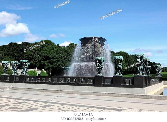 Statues in Vigeland park in Oslo, Norway on Jule 26, 2008. The park covers 80 acres and features 212 bronze and granite sculptures created by Gustav Vigeland