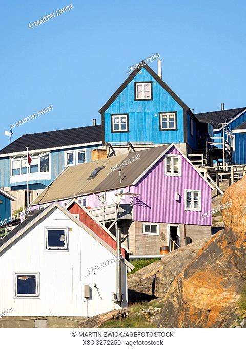 The town Uummannaq in the north of West Greenland, located on an island in the Uummannaq Fjord System. America, North America, Greenland