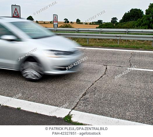 Large cracks tear through the concrete surface of Autobahn 11 heading towards the German-Polish border near Wollin,  Germany, 22 August 2013