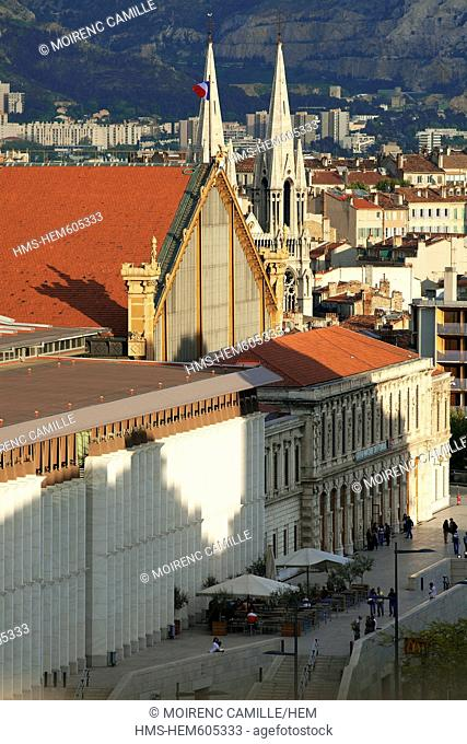 France, Bouches du Rhone, Marseille, 1st district, St Charles train station, church steeple in the background of the Reformed