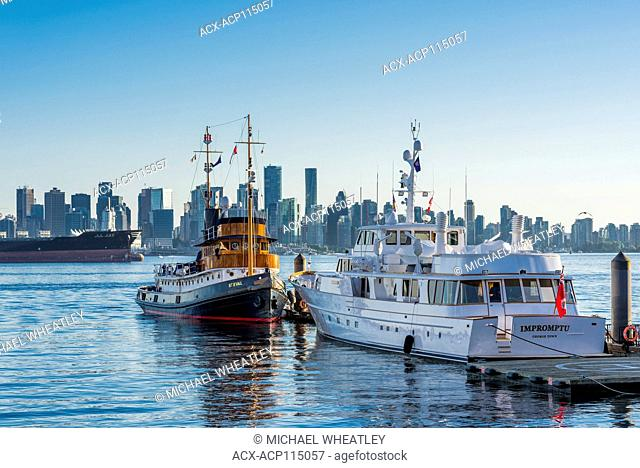 St. Eval a wooden steam tug converted to diesel motor yacht. Docked at Lonsdale Quay, North Vancouver, British Columbia, Canada