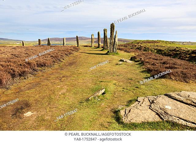 Stenness, Orkney Mainland, Scotland, UK, Great Britain, Europe  Ring of Brodgar Neolithic henge and stone circle of standing stones is largest in Orkneys and is...